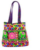 Embroidered Tote with Floral Elephant Motifs from India, 'Elephant Fantasies in Iris'