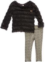 Juicy Couture Black Ruffle Tunic & Metallic Leggings - Infant Toddler & Girls