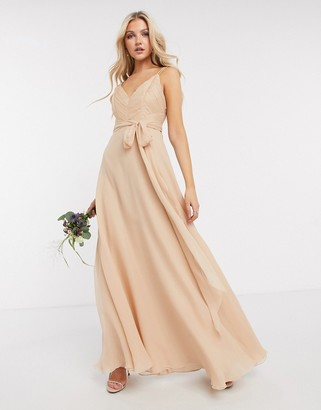 ASOS DESIGN Bridesmaid cami maxi dress with ruched bodice and tie waist in sand