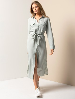 Forever New Gemma Long Sleeve Shirt Dress - Soft Sage - 10