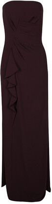 HUGO BOSS Boss By Burgundy Draped Strapless Dilusia Maxi Dress M