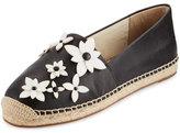 MICHAEL Michael Kors Lola Floral Espadrille Flat, Black/Optic White