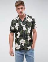 New Look Regular Fit Shirt With Revere Collar In Floral Palm Print