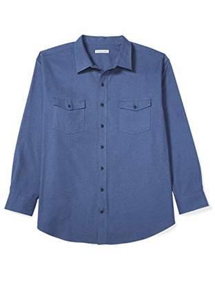Amazon Essentials Men's Big & Tall Long-Sleeve Solid Flannel Shirt