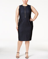 Calvin Klein Plus Size Zip-Front Sheath Dress