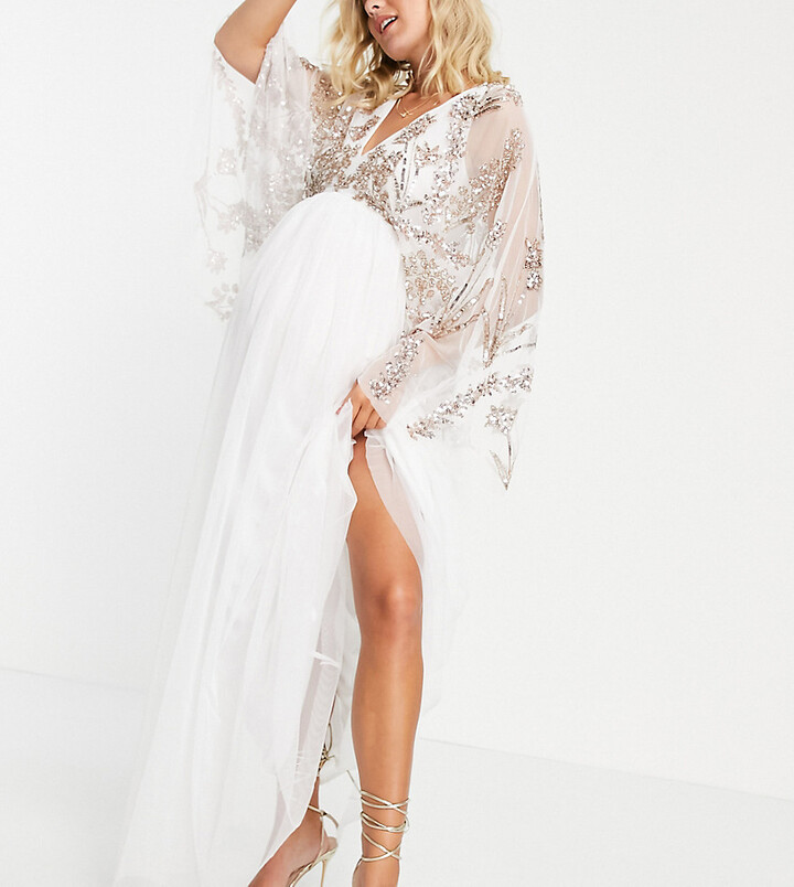 Maya Maternity embellished maxi dress with balloon sleeve in white