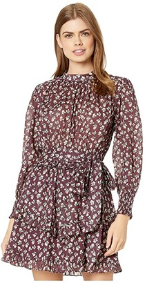 La Vie Rebecca Taylor Long Sleeve Cherise Dress (Mahogany Combo) Women's Dress