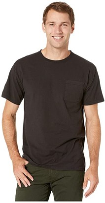 Hanes ComfortWashtm Garment Dyed Short Sleeve Pocket T-Shirt (Black) Men's Clothing