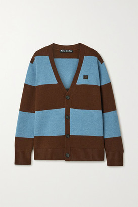 Acne Studios Appliqued Striped Wool Cardigan - Blue