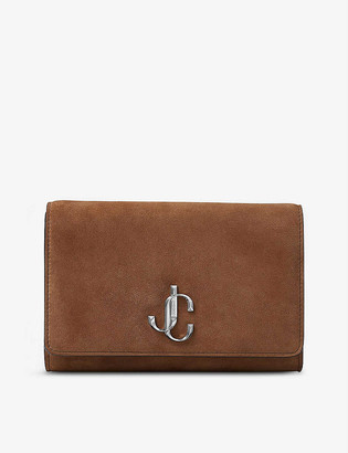 Jimmy Choo Varenne logo-plaque suede clutch