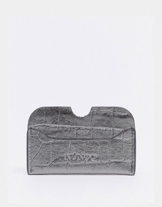 Nunoo Carla card holder in silver croc