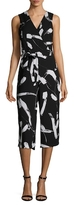 Donna Ricco Printed Surplice Cropped Jumpsuit
