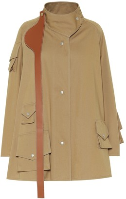 Loewe Leather-trimmed cotton coat