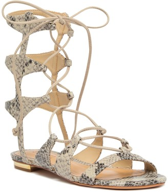 Schutz Erlina Snake Embossed Gladiator Leather Sandal