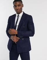 Topman double breasted suit jacket in navy check
