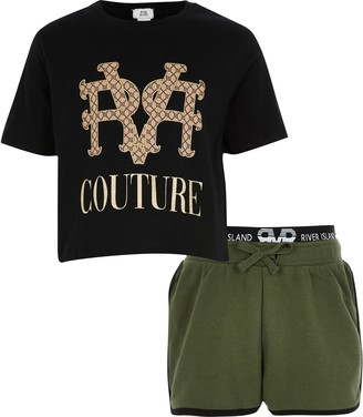 River Island Girls Black 'RVR couture' t-shirt outfit