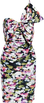 Badgley Mischka One-shoulder Bow-embellished Printed Duchesse-satin Twill Dress