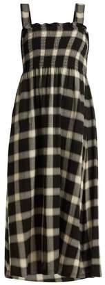 MM6 MAISON MARGIELA Smocked Checked Twill Dress - Womens - Black White