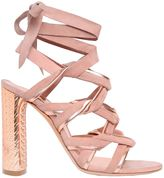 Casadei 100mm Suede & Metallic Leather Sandals