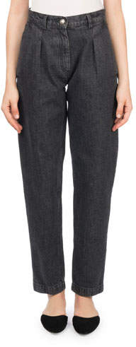Magda Butrym Huntsville High-Waist Pleated Stovepipe Jeans
