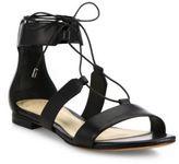 Alexandre Birman Leather Lace-Up Flat Sandals