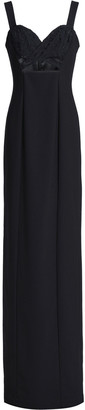 Black Halo Eve By Laurel Berman Rosalita Floral-appliqued Cutout Crepe Gown