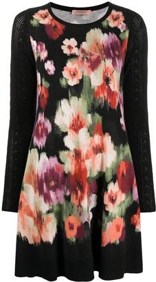 Twin-Set Floral-Print Knit Dress
