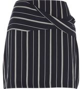 River Island Womens Navy blue wrap front pinstripe mini skirt