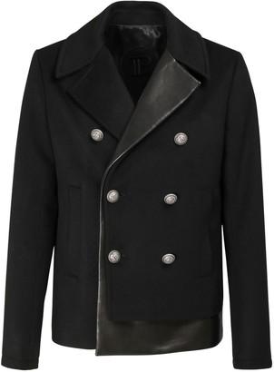 Balmain Cashmere & Leather Pea Coat