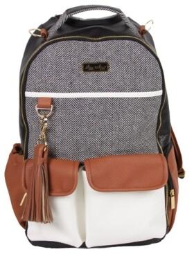 Itzy Ritzy Boss Backpack Diaperbag- Black Herringbome