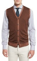 Kiton Washed Cashmere Sweater Vest, Brown