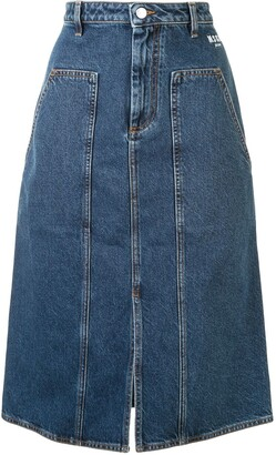 MSGM High-Waisted Panelled Denim Skirt