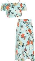 River Island Girls Green floral crop top and skirt set