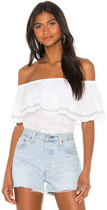 1 STATE Off the Shoulder Flounce Edge Blouse