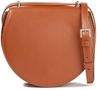 Sara Battaglia Caroline Pleated Smooth And Croc-effect Leather Shoulder Bag
