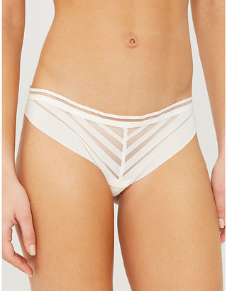 Passionata Graphic design stretch-mesh tanga briefs