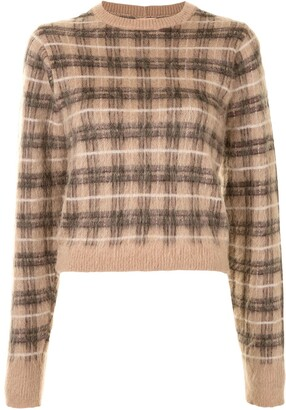 No.21 Check Print Knitted Jumper