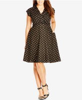 City Chic Plus Size Dot-Print Fit & Flare Dress