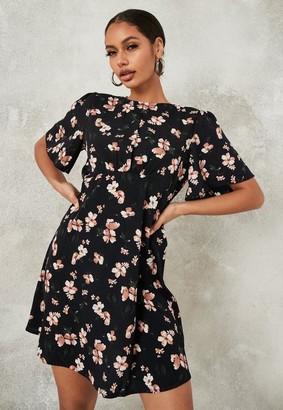 Missguided Floral Print Flutter Sleeve Skater Dress