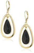 Anne Klein Gold-Tone Jet Leverback Teardrop Earrings