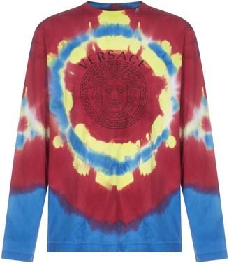 Versace Tie-Dye Motif Long Sleeve T-Shirt
