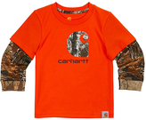 Carhartt Blaze Orange & Realtree Xtra® Layer-Sleeve Graphic Tee - Toddler