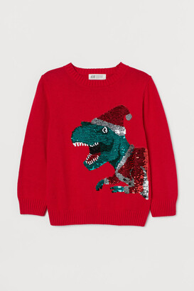 H&M Sequin-embellished Sweater - Red