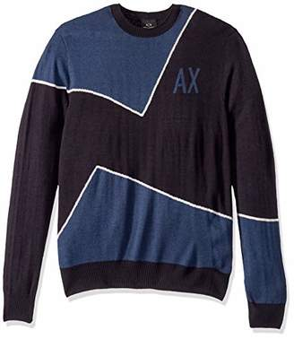Armani Exchange A|X Men's Logo Geometric Colorblock Acrylic/Wool Pullover
