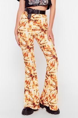 Nasty Gal Womens Orange Tie Dye Flare - 8