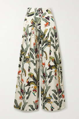 PatBO Printed Voile Wide-leg Pants - Off-white