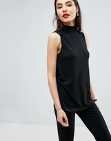 Asos Top with High Neck in Ponte
