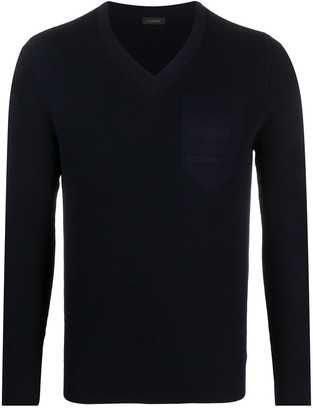 Zanone V-neck long sleeve sweater