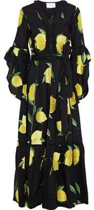 Leone We Are Belted Embroidered Cotton-poplin Kimono