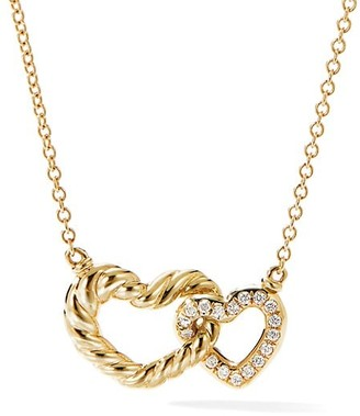 David Yurman Double Heart Pendant Necklace in 18K Yellow Gold with Diamonds